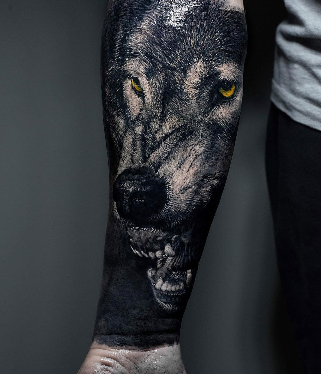 Realistic snarling wolf portrait