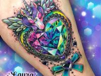 Space Unicorn & colorful diamond