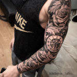 Roses & pocket watch, men's sleeve