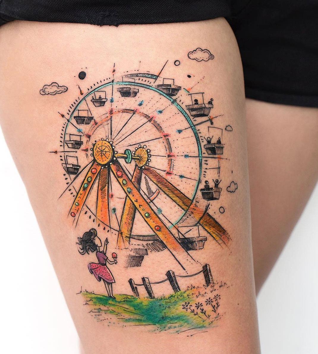 Ferris Wheel Thigh Tattoo