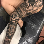 LA leg sleeve tattoo