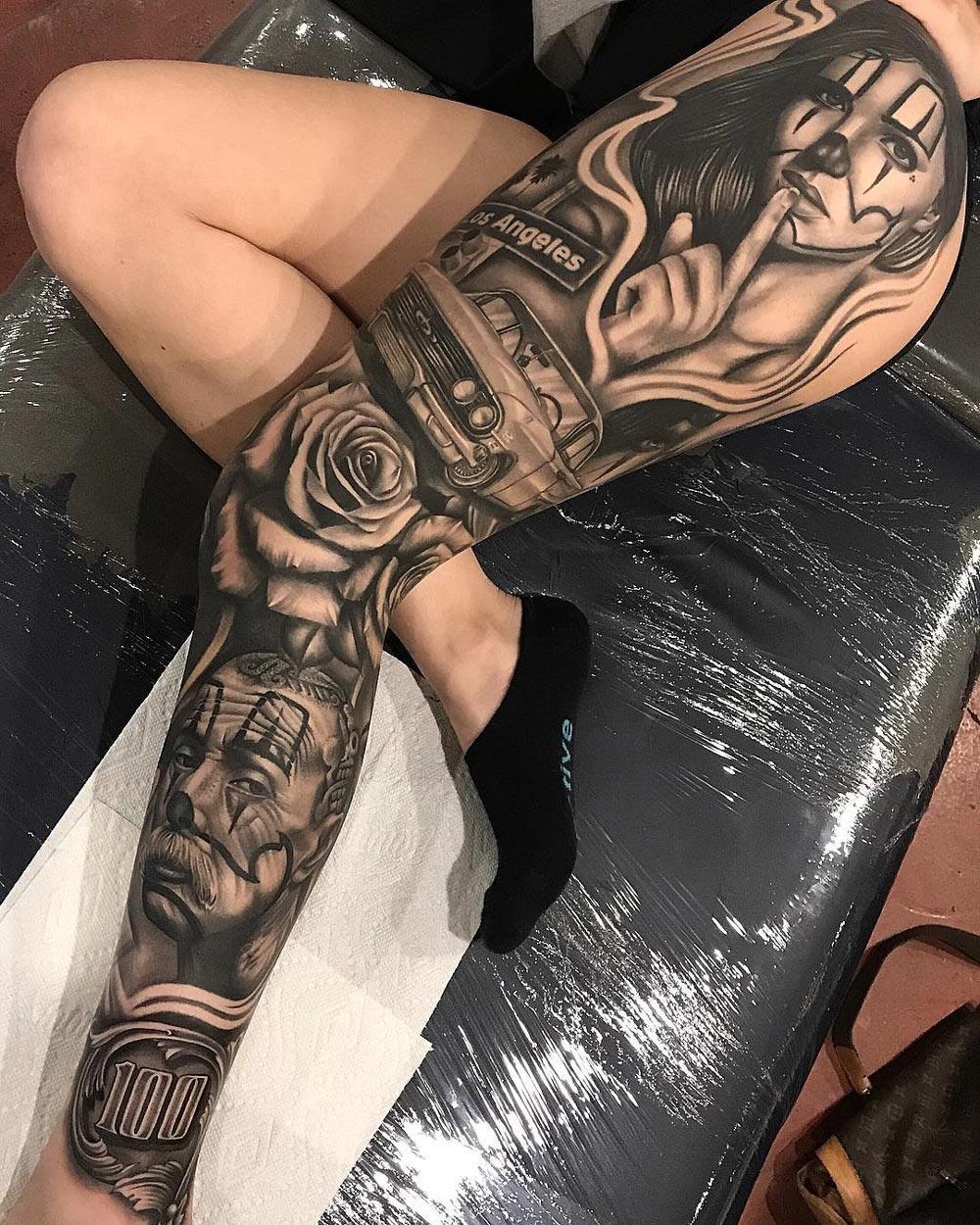 Los Angeles Leg Sleeve Best Tattoo Design Ideas