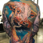 Longhorn Portrait on guy's back
