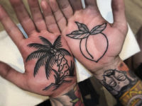 Palm tree & peach palm tattoos