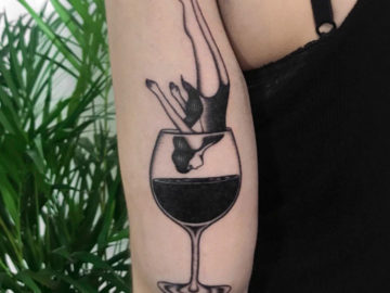 Wine Diver, alcohol tattoo