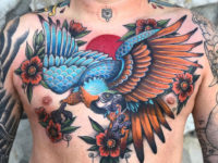 Macaw Chest Tattoo
