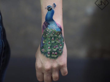 Peacock Hand Tattoo