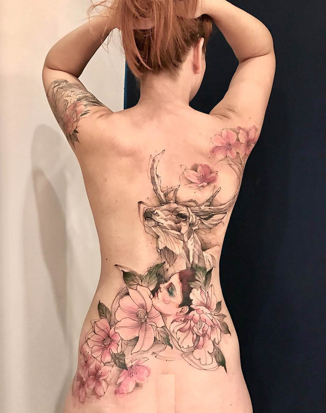 ce049f7b8b5f6 Pink Flowers & Deer, Girl's Back Tattoo | Best tattoo design ideas