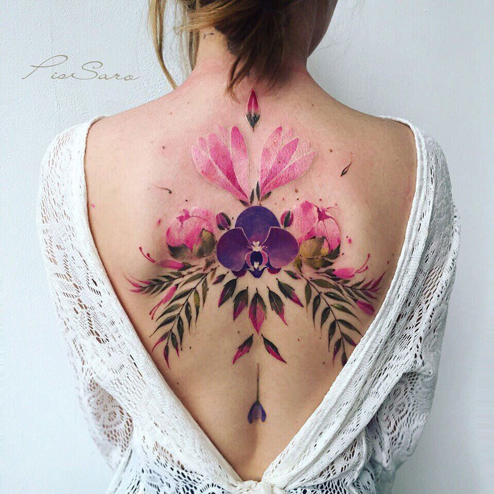 Girl's floral back piece