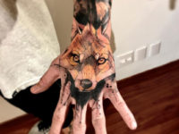 Men's Fox Hand Portrait Tattoo