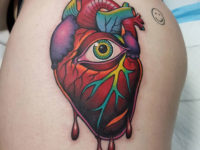 Heart & Eye Hip Tattoo