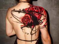 Roses back & shoulder tattoo