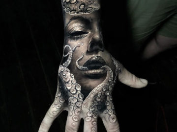Portrait & octopus hand tattoo