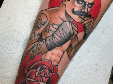 Boxer & Rose Tattoo