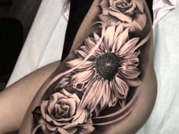 Sunflower & Roses Tattoo