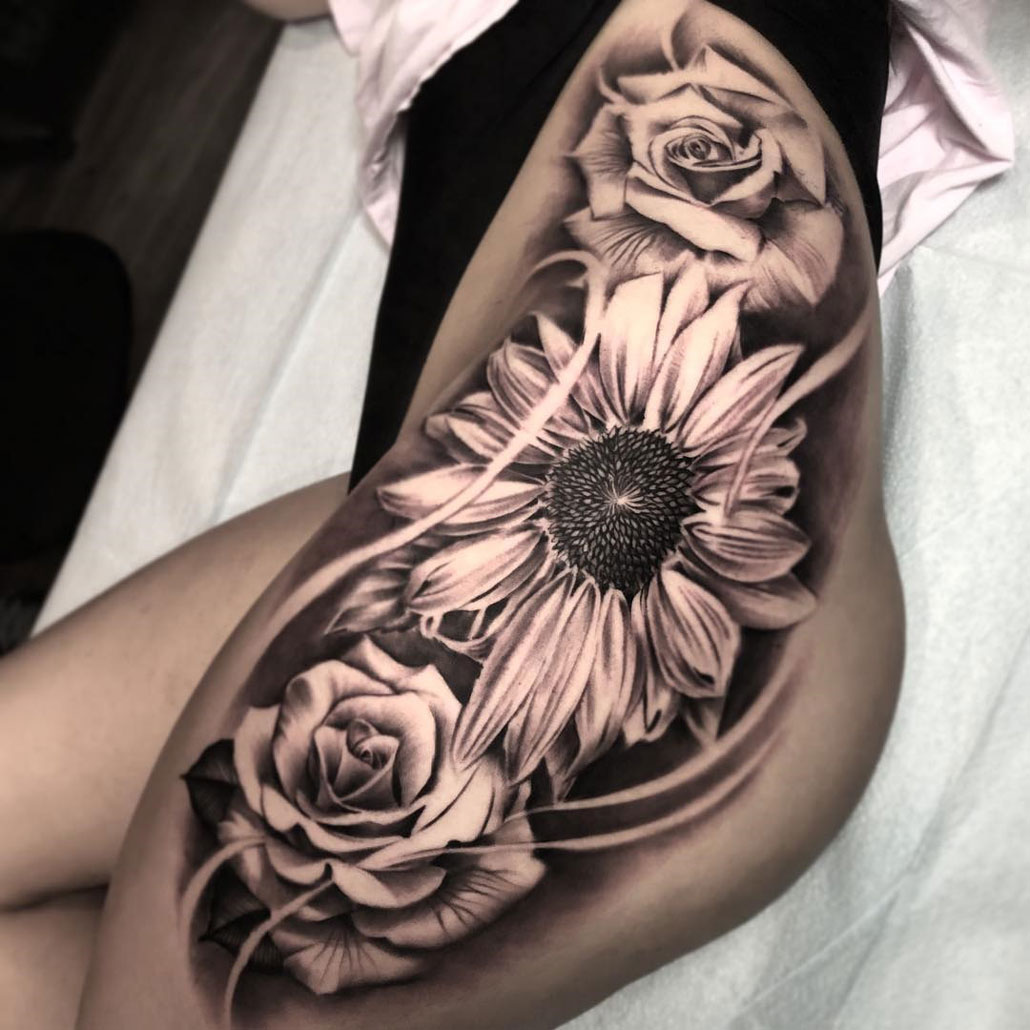 Sunflower & Roses Tattoo