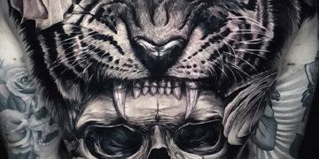 Tiger & skull full back tattoo