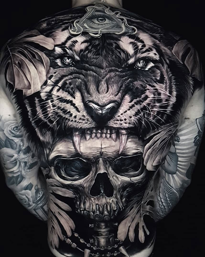 Tiger & skull full back tattoo