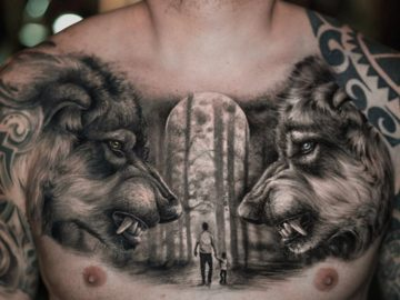 Wolves chest tattoo