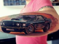 Ford Mustang forearm tattoo