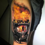 Firefighter leg tattoo