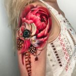 Pink Peony Shoulder Tattoo