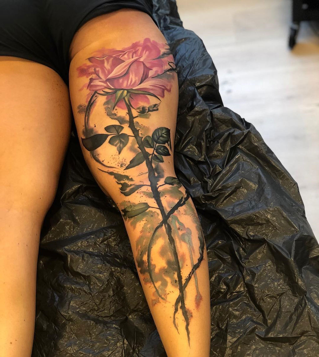 Watercolor Pink Rose, Back of Leg Piece
