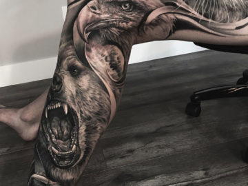 Eagle, bear & tiger leg piece