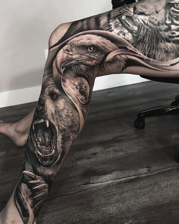 Tiger Eagle Bear Bg Leg Sleeve Best Tattoo Design Ideas
