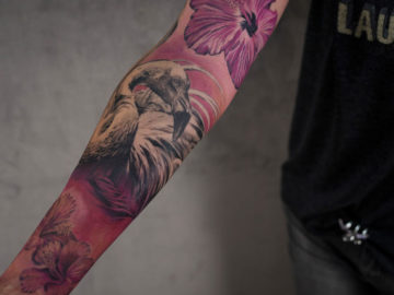 Hibiscus & flamingo Sleeve
