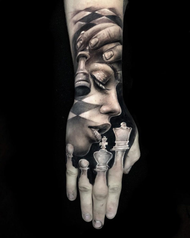 Hand tattoo with portrait