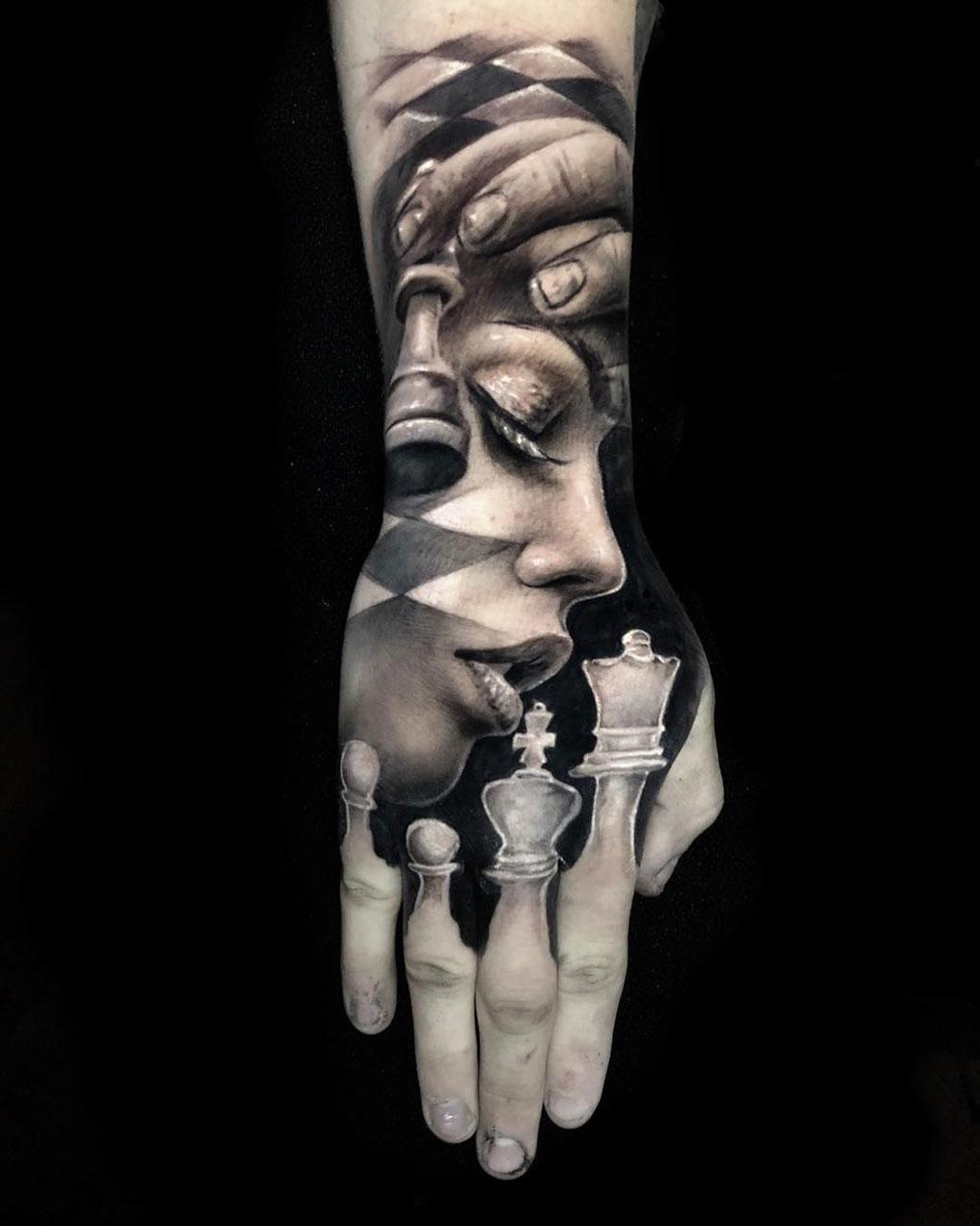 Hand tattoo with portrait