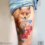 Watercolor fox leg tattoo