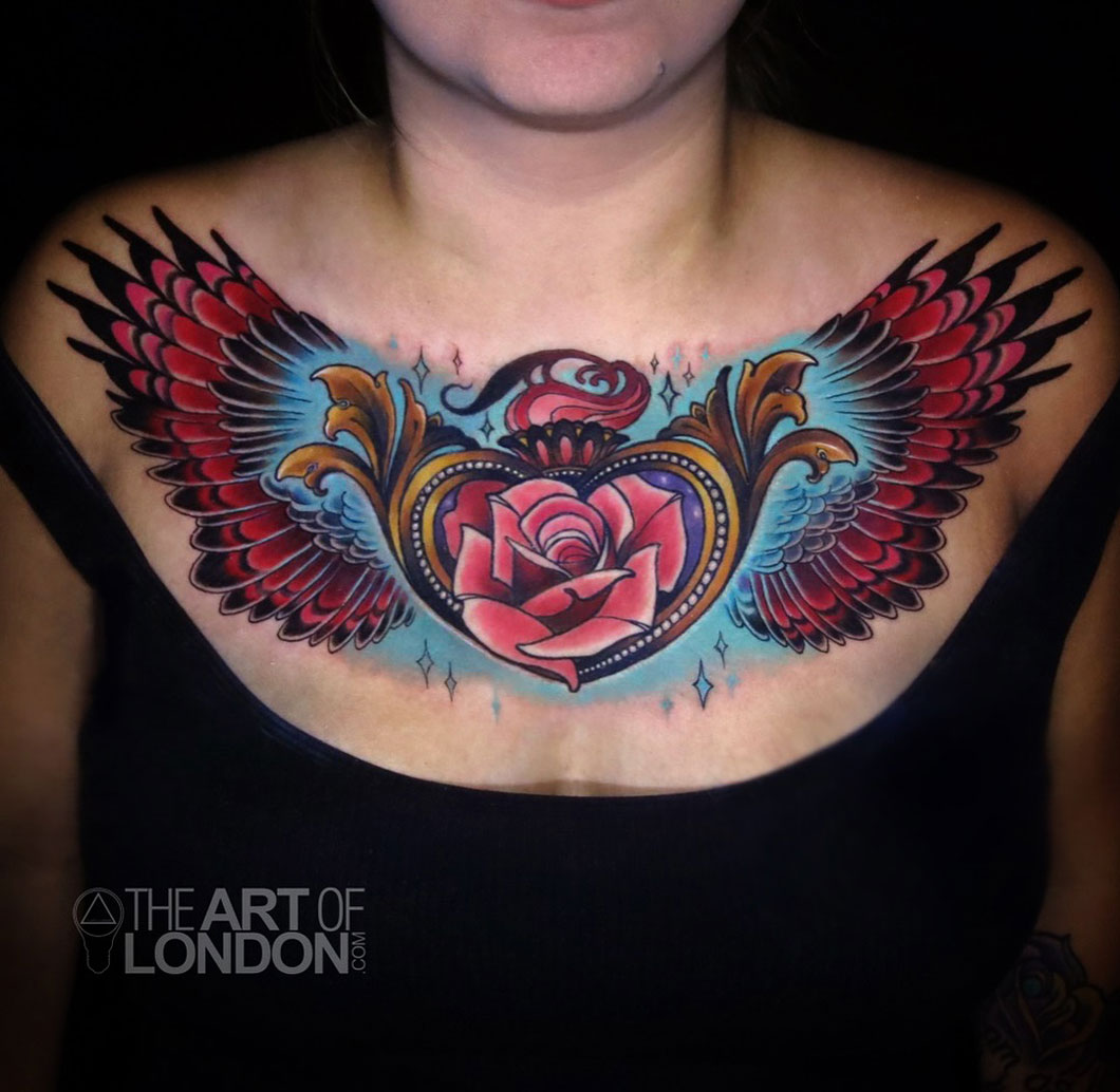 Heart Locket, Rose & Wings