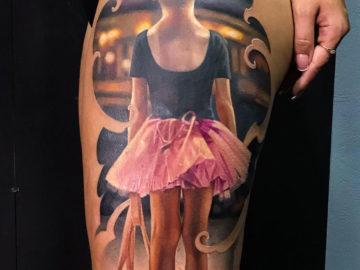 Little Ballerina girl, thigh tattoo