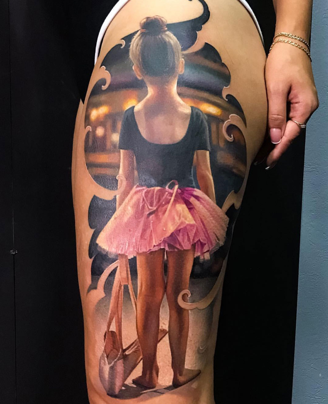 Little Ballerina girl, thigh tattoo