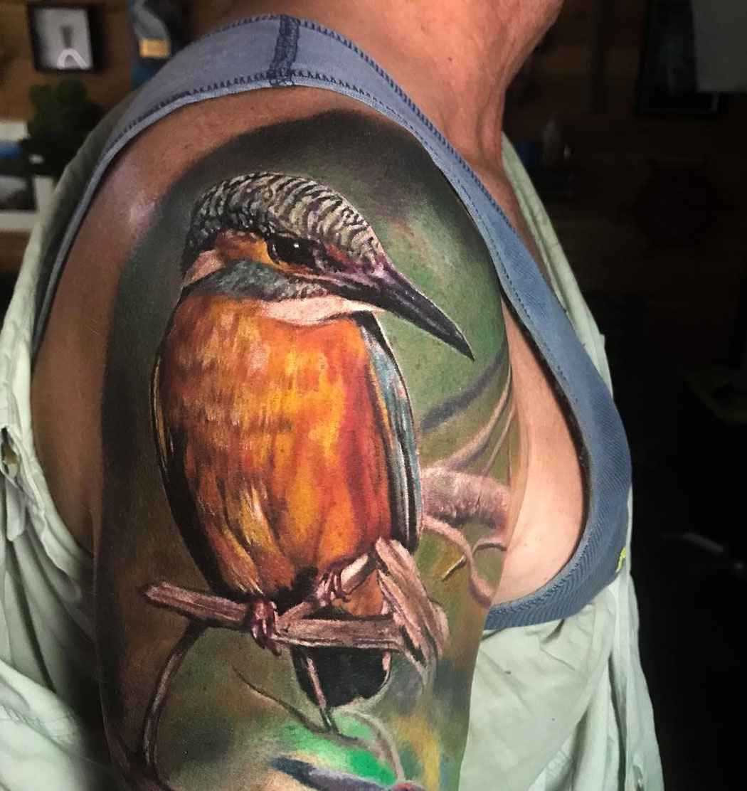 Kingfisher realism tattoo