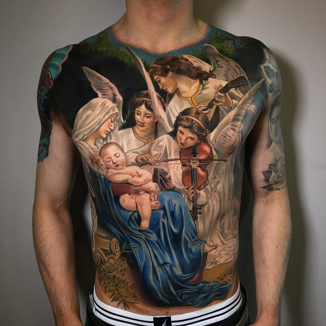 Jesus & Mary front tattoo