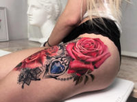 Pink roses & lace thigh tattoo