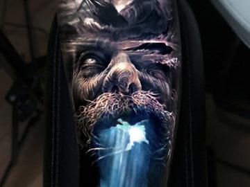 Poseidon underwater tattoo