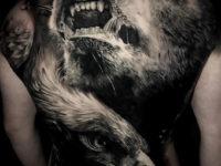 Bear & eagle back tattoo