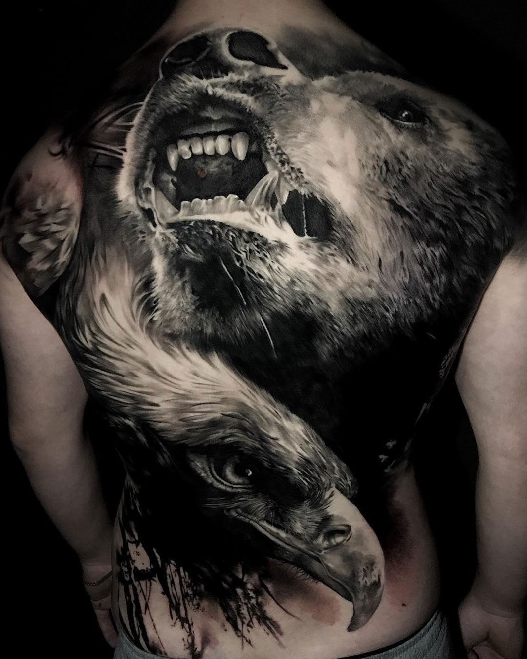 Bear & eagle back tattoo