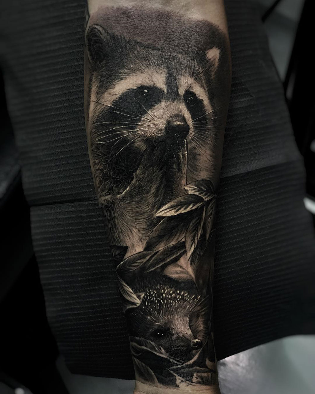 Raccoon and Hedgehog Tattoo
