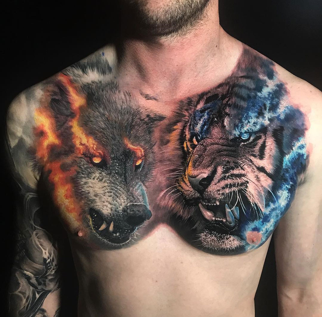 fa724ab9c Tiger Vs Wolf Chest | Best tattoo design ideas