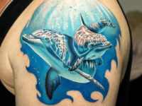 Dolphins shoulder tattoo