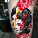 Geisha leg tattoo