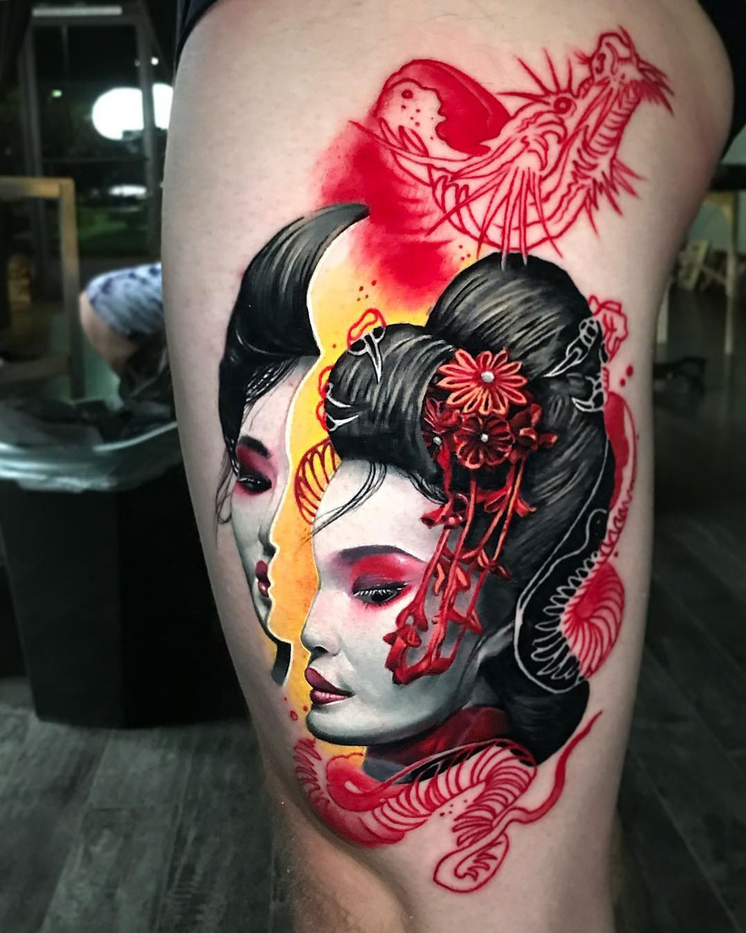 Geisha leg tattoo