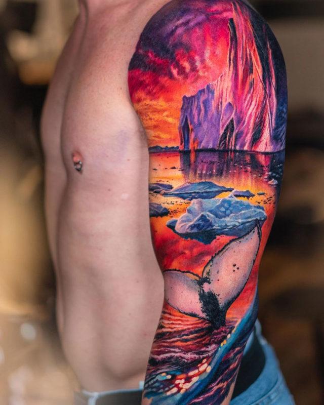 Whale & Iceberg sleeve