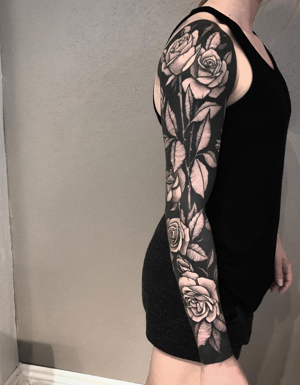 Black Ink Sleeve with Roses
