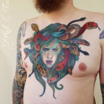 Medusa men's chest tattoo